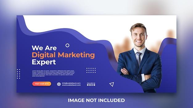 Promoção de marketing de mídia social criativa capa do facebook modelo de banner da web premium psd