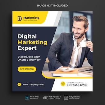 Promoção de marketing de negócios corporativos e digitais pós-design do instagram ou banner de mídia social