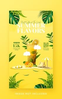 Promoção de menu de bebidas de verão em mídia social modelo de banner de história do instagram