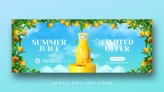 Promoção de menu de bebidas de verão modelo de banner de capa do facebook