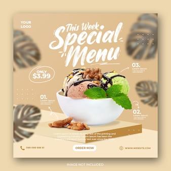 Promoção de menu de sorvete em mídia social modelo de banner de postagem do instagram