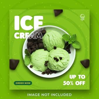 Promoção de menu de sorvete mídias sociais modelo de banner de postagem no instagram psd premium