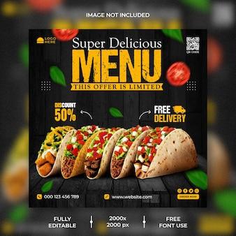 Promoção de mídia social de fast food e modelo de design de postagem no instagram