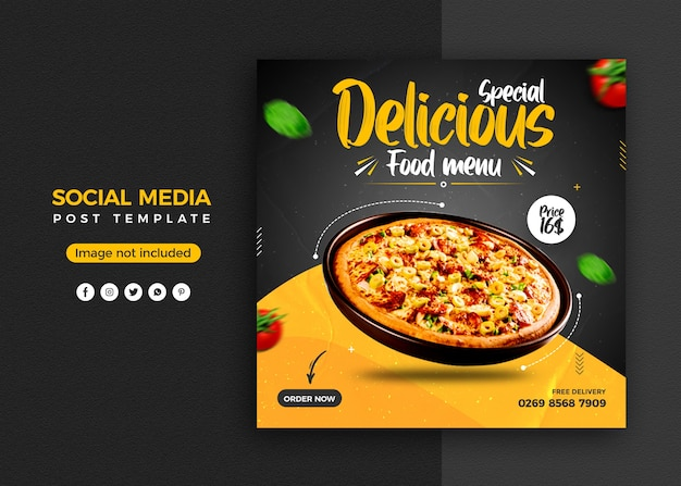 Promoção de mídia social de pizza e modelo de design de postagem de banner instagram