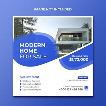 Promoção de mídia social de venda de casa moderna modelo do instagram ps