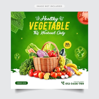 Promoção de mídia social vegetal e modelo de design de postagem de banner instagram