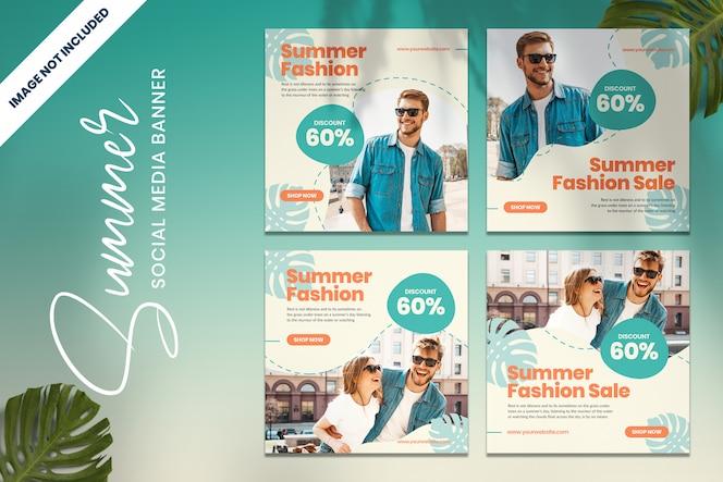 Promoção de moda verão banner de mídia social vol2