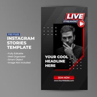 Promoção de modelo de transmissão ao vivo para histórias de postagem em mídia social