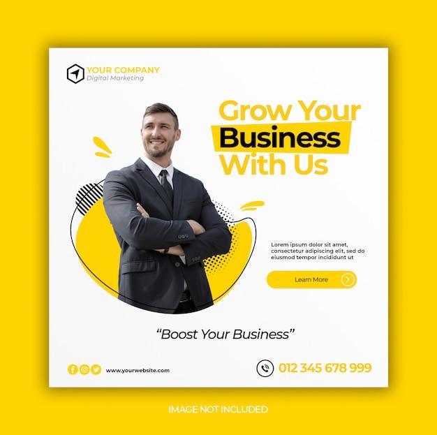 Promoção de negócios e mídia social corporativa banner modelo ou folheto quadrado