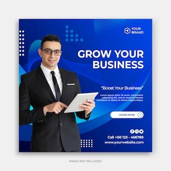 Promoção de negócios e modelo de banner de mídia social criativa