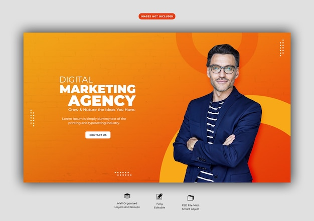 Promoção de negócios e modelo de banner web corporativo Psd Premium