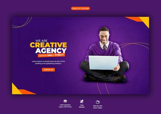 Promoção de negócios e modelo de banner web criativo