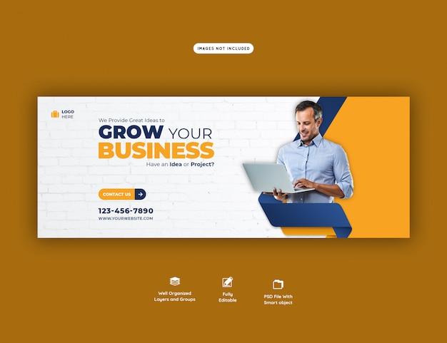 Promoção de negócios e modelo de capa corporativa do facebook