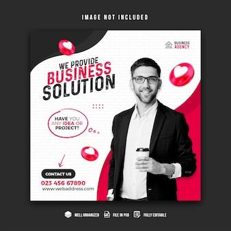 Promoção de negócios e modelo de design de banner de mídia social corporativa