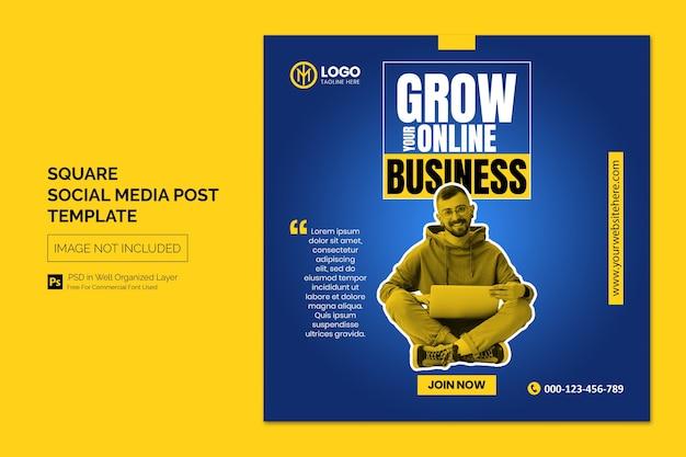 Promoção de negócios e postagem em mídia social corporativa ou modelo de banner quadrado