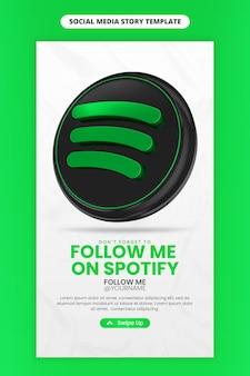 Promoção de página de negócios com ícone de renderização em 3d spotify para instagram e modelo de história de mídia social