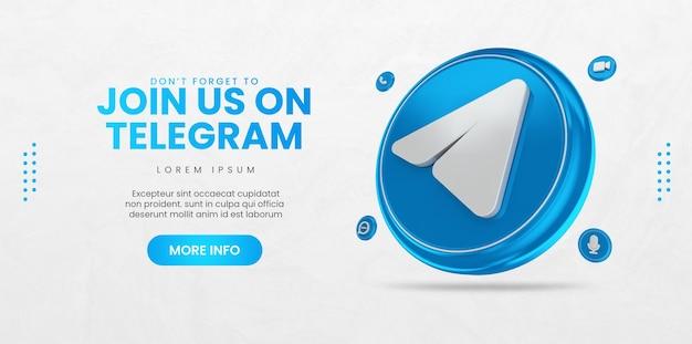 Promoção de página de negócios com ícone de telegrama de renderização em 3d para instagram e modelo de banner de mídia social