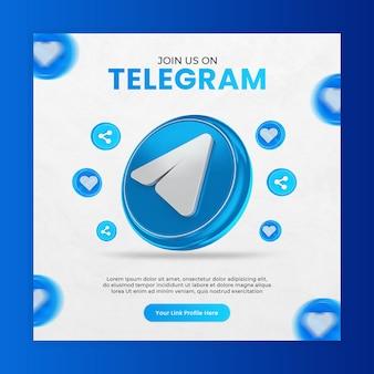 Promoção de página de negócios com ícone de telegrama de renderização em 3d para instagram e modelo de postagem de mídia social