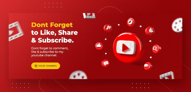 Promoção de página de negócios com logotipo do youtube 3d render para modelo de postagem do instagram
