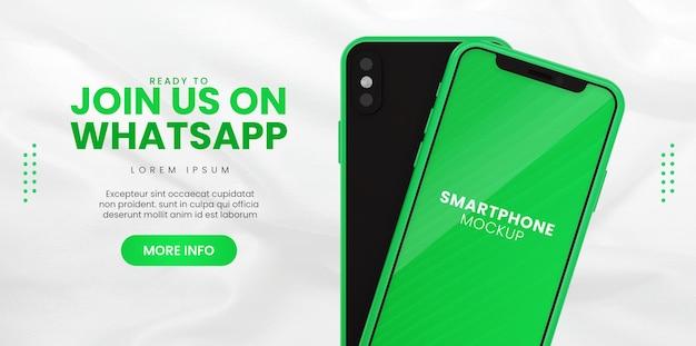 Promoção de página de negócios com modelo de telefone para modelo de banner de mídia social