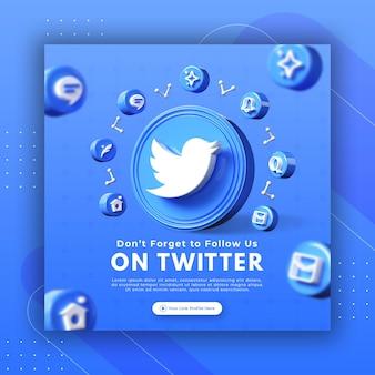 Promoção de página de negócios com renderização 3d twitter para modelo de postagem instagram