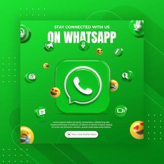 Promoção de página de negócios com renderização em 3d do modelo de postagens no whatsapp