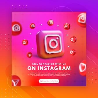 Promoção de página de negócios com renderização em 3d para modelo de post instagram