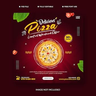 Promoção de pizza nas mídias sociais de alimentos e modelo de design de postagem de banner premium psd