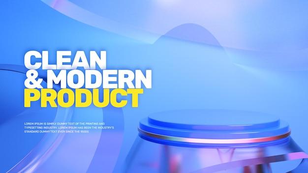 Promoção de pódio moderno e minimalista em 3d glass look