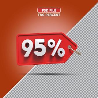 Promoção de porcentagem 3d 95 por cento