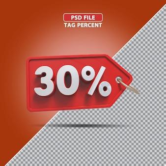 Promoção de porcentagem 3d de 30 por cento