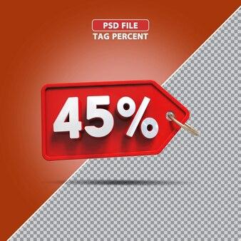 Promoção de porcentagem 3d de 45 por cento