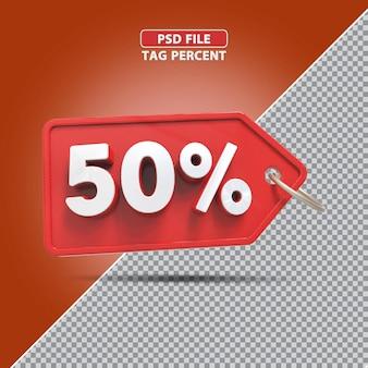 Promoção de porcentagem 3d de 50 por cento