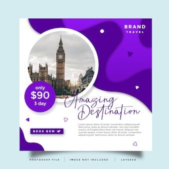 Promoção de postagem de feed de mídia social de viagem