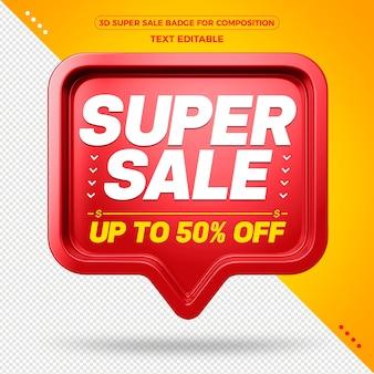 Promoção de super venda com emblema vermelho