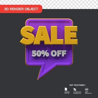 Promoção de venda 3d com 50% de desconto isolado. útil para ilustração de comércio eletrônico e compras online
