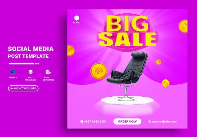Promoção de venda em mídia social e modelo de design de postagem de banner instagram