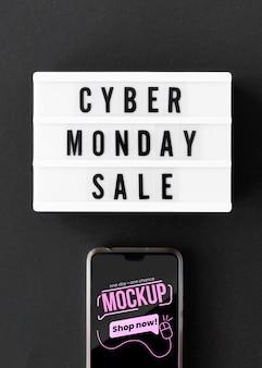 Promoção de venda na cibernética segunda-feira com modelo de telefone