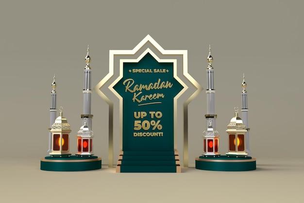 Promoção de venda ramadan kareem e pós-celebração 3d de venda