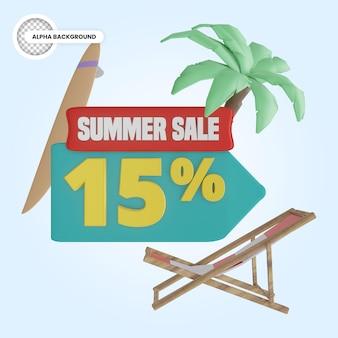 Promoção de verão 15 por cento de desconto 3d render