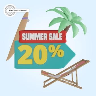 Promoção de verão 20 por cento de desconto 3d render