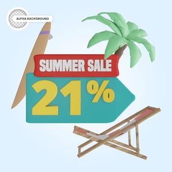 Promoção de verão 21 por cento de desconto 3d render
