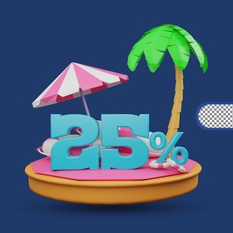 Promoção de verão 25 por cento de desconto oferta renderização em 3d