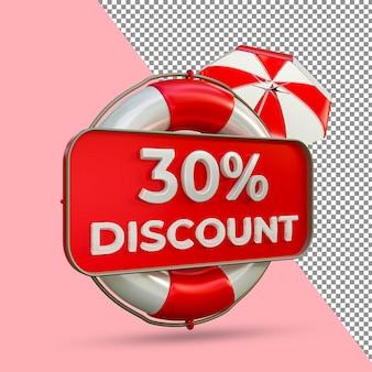 Promoção de verão 30 por cento de desconto 3d render