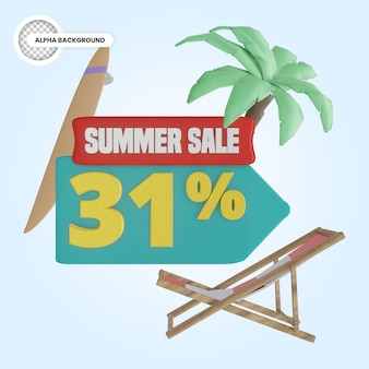 Promoção de verão 31 por cento de desconto 3d render
