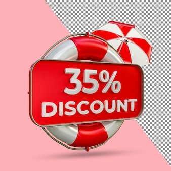 Promoção de verão 35 por cento de desconto 3d render
