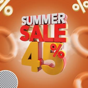 Promoção de verão 3d com 45% de desconto