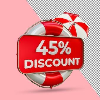 Promoção de verão 45 por cento de desconto 3d render