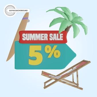 Promoção de verão 5 por cento de desconto 3d render