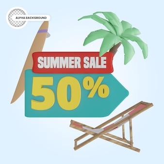 Promoção de verão 50 por cento de desconto 3d render